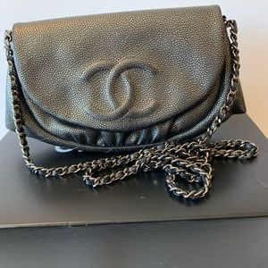 CHANEL Metallic Calfskin Half Moon Wallet WOC Bag